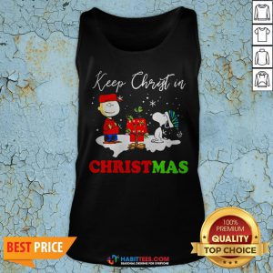 Peanuts Charlie Brown And Snoopy Keep Christ In Christmas Tank Top- Design by Habittees.com