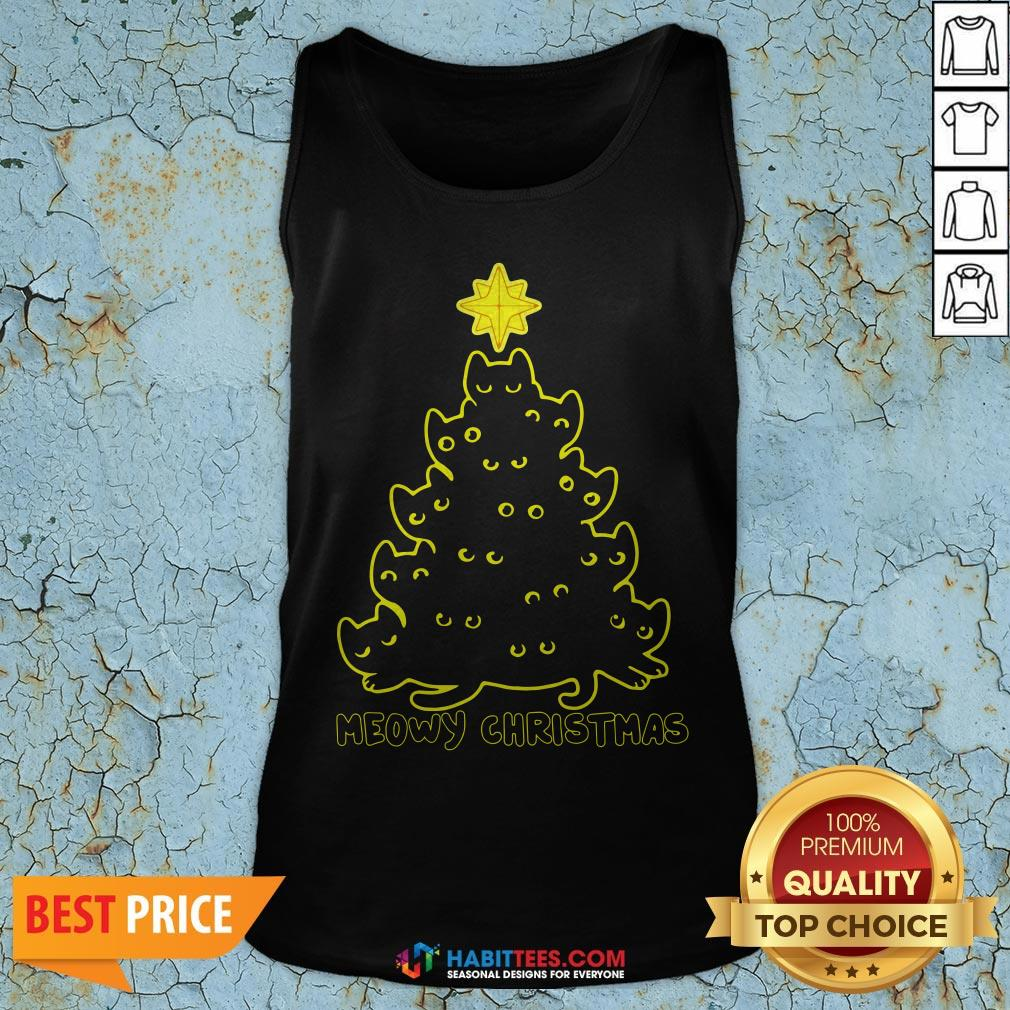 Funny Cat Meowy Christmas Tree Tank Top- Design by Habittees.com