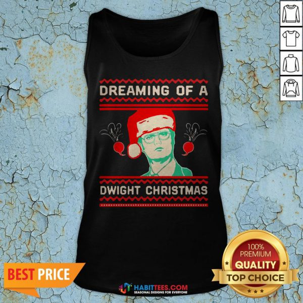 Dreaming Of A Dwight Ugly Christmas Tank Top- Design by Habittees.com
