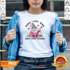 Gnome Peace Love Hope Breast Cancer Awareness V-neck- Design by Habittees.com