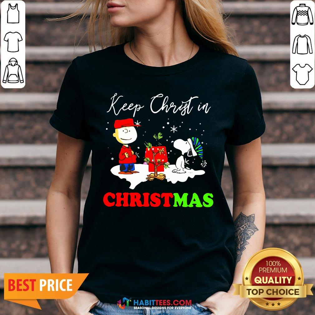 Peanuts Charlie Brown And Snoopy Keep Christ In Christmas V-neck- Design by Habittees.com