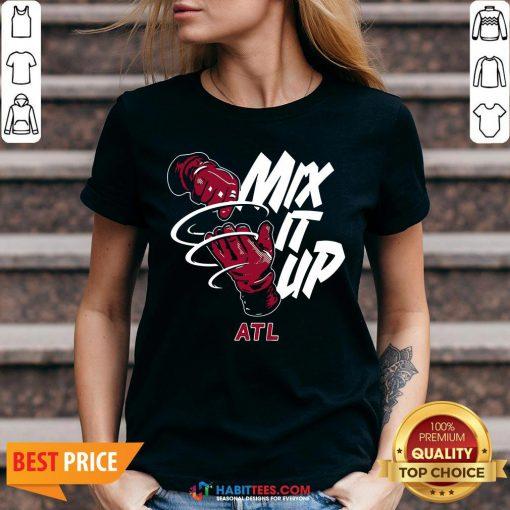 Nice Mix It Up Braves ATL V-neck- Design by Habittees.com