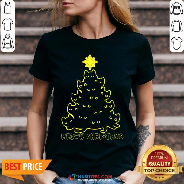 Funny Cat Meowy Christmas Tree V-neck- Design by Habittees.com