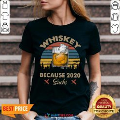 Pretty Whiskey Because 2020 Suchs Vintage Retro V-neck- Design by Habittees.com