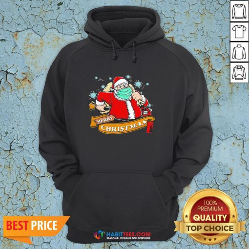 Awesome Best Santa Claus Wearing Mask Hoodie - Design By Habittees.com