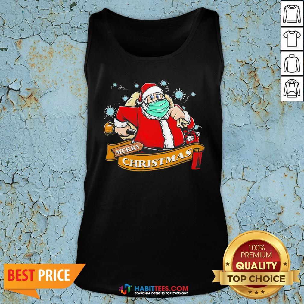 Awesome Best Santa Claus Wearing Mask Tank Top - Design By Habittees.com