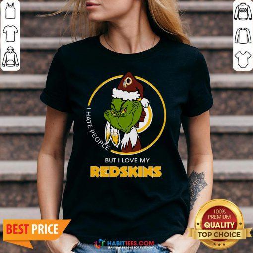 Awesome Grinch I Hate People But I Love Redskin V-neck