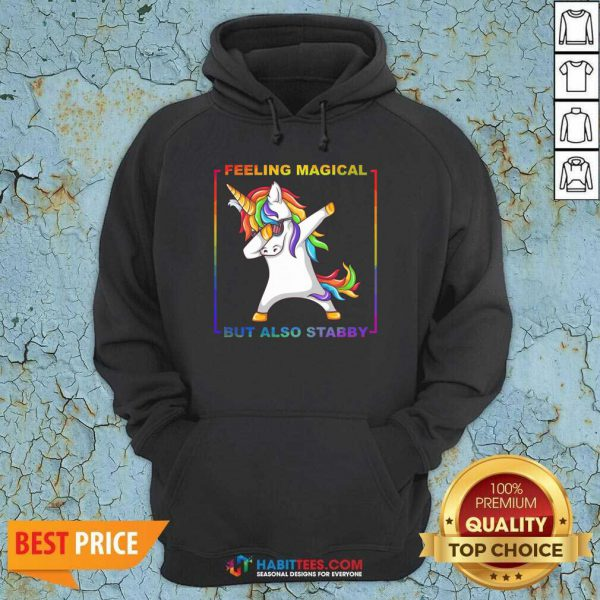 Awesome Lgbt Unicorn Dabbing Feeling Magical But Also Stabby Hoodie