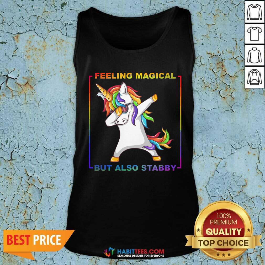 Awesome Lgbt Unicorn Dabbing Feeling Magical But Also Stabby Tank Top