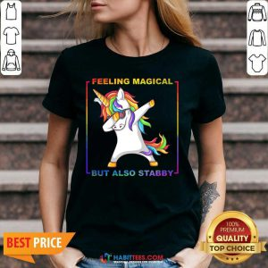 Awesome Lgbt Unicorn Dabbing Feeling Magical But Also Stabby V-neck