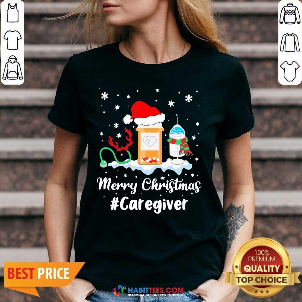 Awesome Nurse Santa Vaccine Merry Christmas #Caregiver Crew V-neck