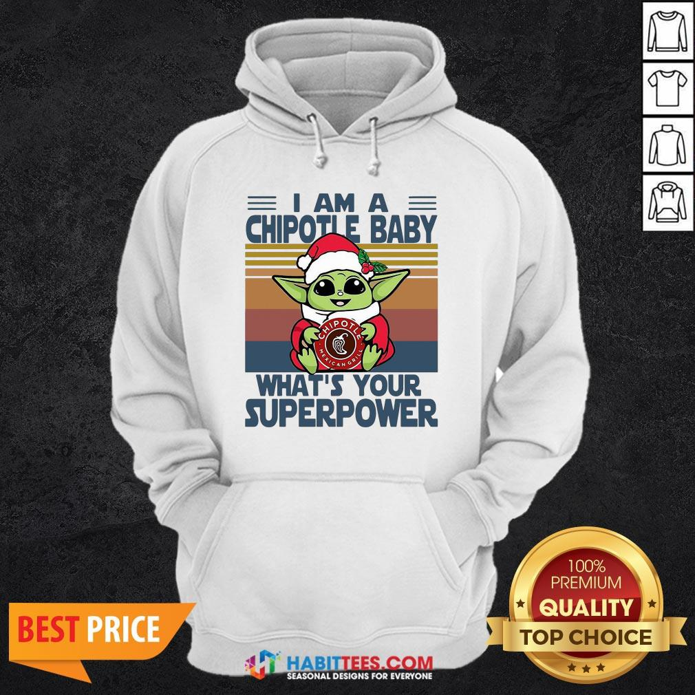 Cute Baby Yoda Santa Hug Chipotle What's Your Superpower Vintage Retro Christmas Hoodie - Design By Habittees.com