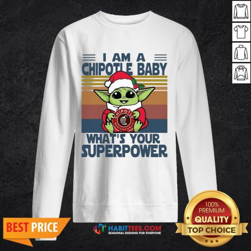 - Design By Habittees.comCute Baby Yoda Santa Hug Chipotle What's Your Superpower Vintage Retro Christmas Sweatshirt