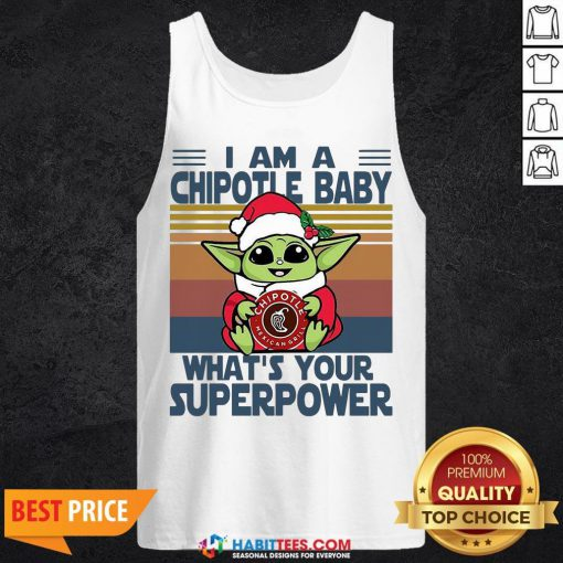 Cute Baby Yoda Santa Hug Chipotle What's Your Superpower Vintage Retro Christmas Tank Top - Design By Habittees.com