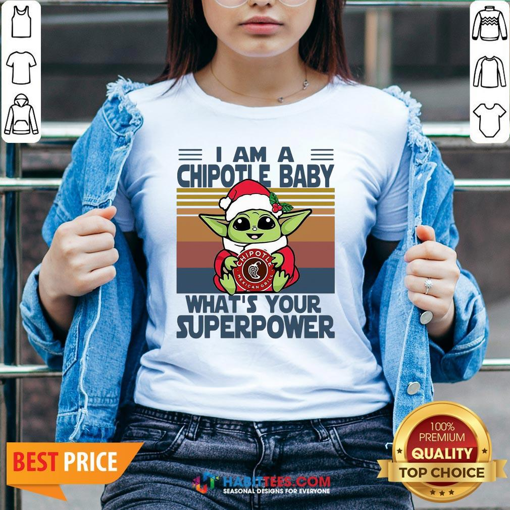 Cute Baby Yoda Santa Hug Chipotle What's Your Superpower Vintage Retro Christmas V-neck - Design By Habittees.com