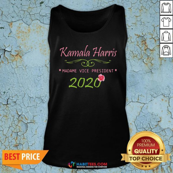 Cute Kamala Harris Madame Vice President 2020 Flower Tank Top - Design By Habittees.com