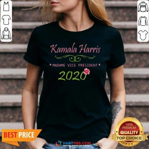 Cute Kamala Harris Madame Vice President 2020 Flower V-neck - Design By Habittees.com