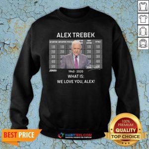 Funny Alex Trebek 1940 2020 What Is We Love You Alex Sweatshirt - Design By Habittees.com
