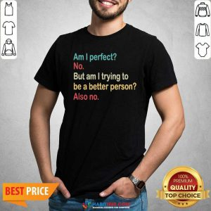 Funny Am I Perfect No Am I Trying To Be A Better Person Vintage Shirt