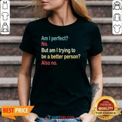 Funny Am I Perfect No Am I Trying To Be A Better Person Vintage V-neck