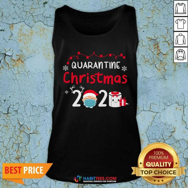 Funny Quarantine Christmas 2020 Santa Claus Face Mask Toilet Paper Gift Tank Top