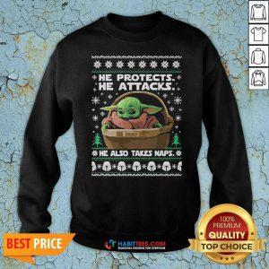 Funny Star Wars The Mandalorian Baby Yoda Ugly Christmas Sweatshirt
