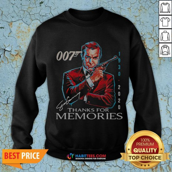 Great Rip Sean Connery 007 1930 2020 Signature Thank You For Memories Sweatshirt - Design By Habittees.com