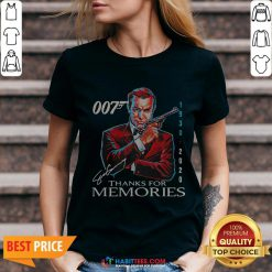 Great Rip Sean Connery 007 1930 2020 Signature Thank You For Memories V-neck- Design By Habittees.com