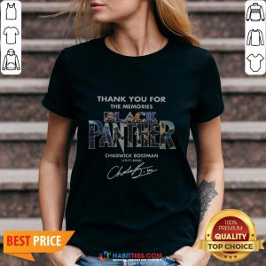 Hot Black Panther Chadwick Boseman 1977 2020 Signature Thank V-neck - Design By Habittees.com