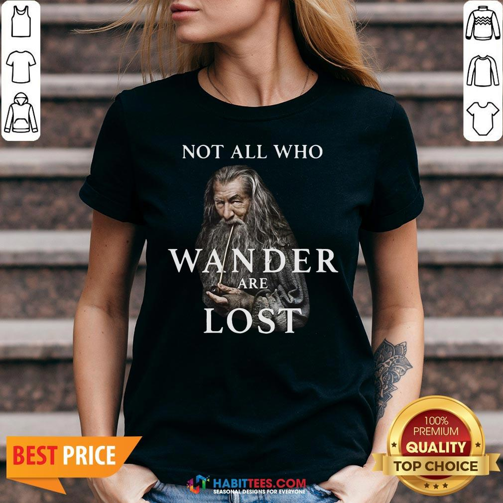 Hot Gandalf Not All Who Wander Are Lost V-neck - Design By Habittees.com