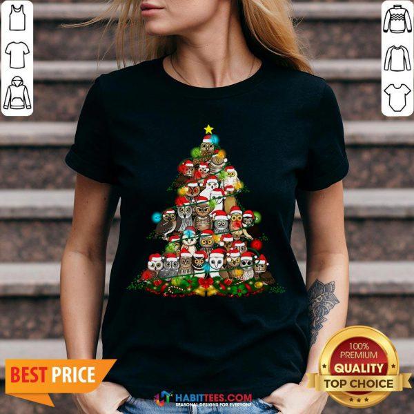 Hot Grateful Owl Quaran Tree Christmas V-neck - Design By Habittees.com