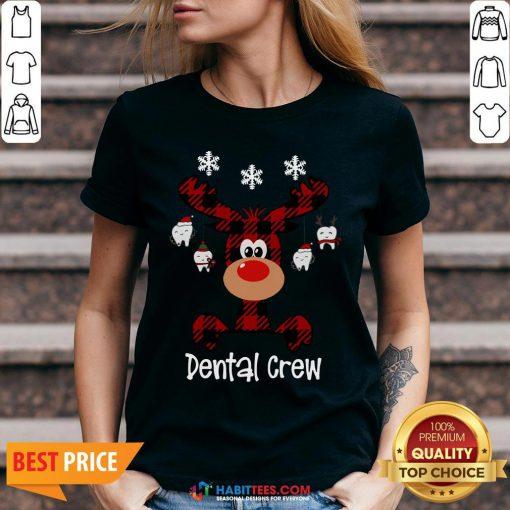 Hot Reindeer Dental Crew Christmas V-neck - Design By Habittees.com
