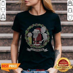 Hot Rick And Morty And Santa Claus Happy Human Holiday 2020 V-neck - Design By Habittees.com