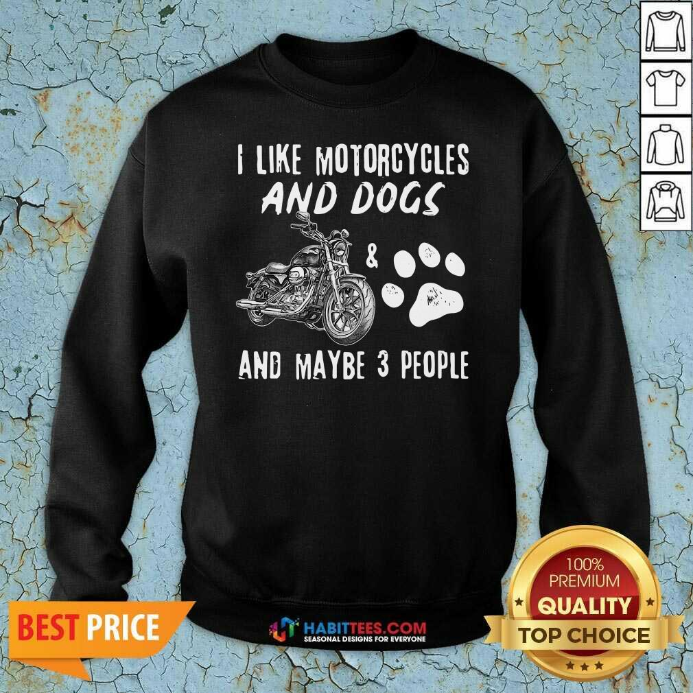 I Like Motorcycles And Dogs And Maybe 3 People Sweatshirt