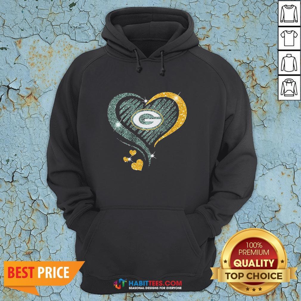 Love Green Bay Packers Heart Hoodie - Design By Habittees.com