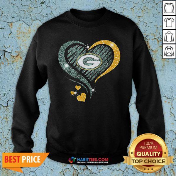 Love Green Bay Packers Heart Sweatshirt - Design By Habittees.com