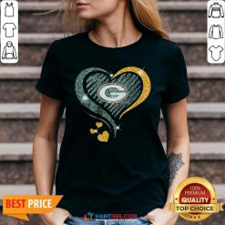 Love Green Bay Packers Heart V-neck - Design By Habittees.com