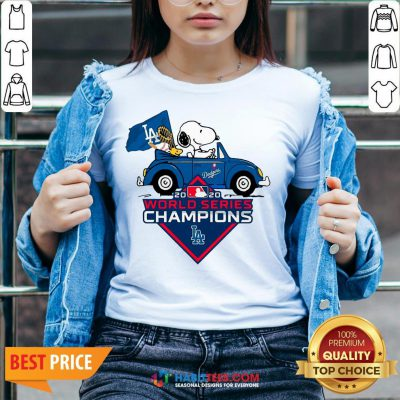 Love Snoopy And Woodstock Los Angeles Dodgers World Series Champions V-neck - Design By Habittees.com