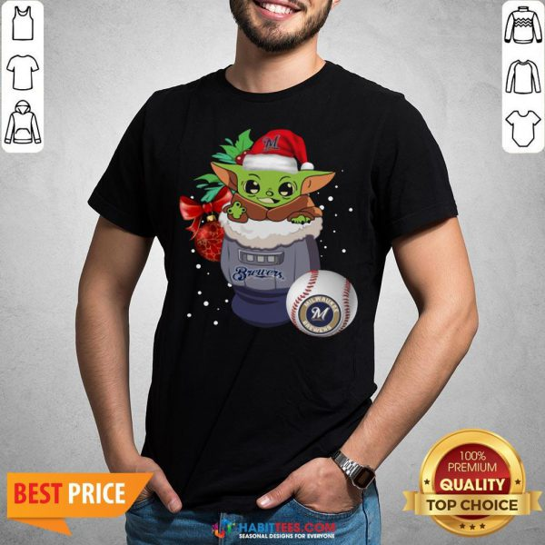 Milwaukee Brewers Christmas Baby Yoda Star Wars Funny Happy MLB Shirt