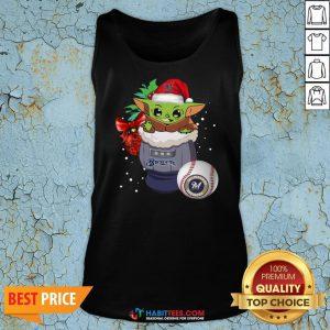 Milwaukee Brewers Christmas Baby Yoda Star Wars Funny Happy MLB Tank Top