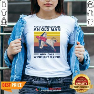 Never Underestimate An Old Man Who Loves Wingsuit Flying Vintage V-neck