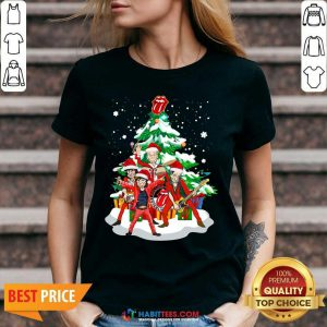 Nice Anta The Rolling Stones Playing Music Merry Christmas 2020 V-neck