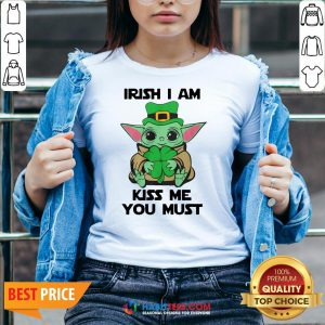 Nice Baby Yoda Hug Shamrock Irish I Am Kiss Me You Must V-neck