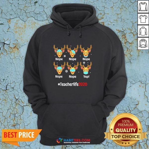 Nice Christmas Teacher 2020 Life Reindeer Deer Wearing Mask Hoodie - Design By Habittees.com