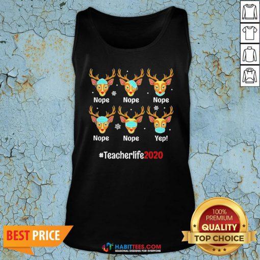 Nice Christmas Teacher 2020 Life Reindeer Deer Wearing Mask Tank Top - Design By Habittees.com