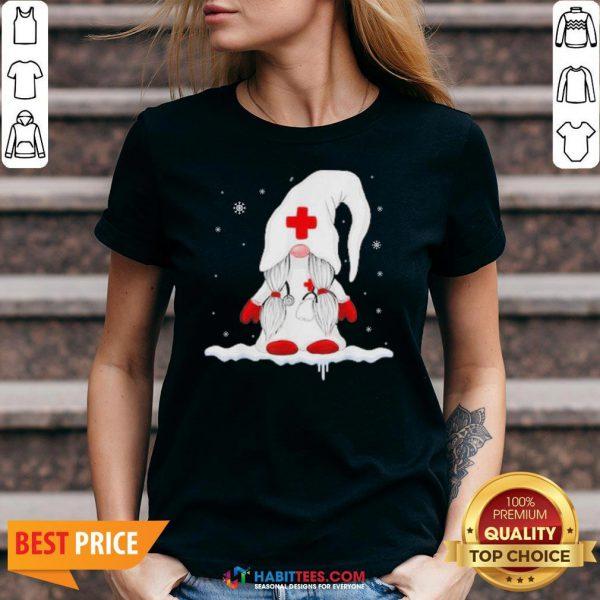 Nice Dwarf Medical White Snow Christmas V-neck