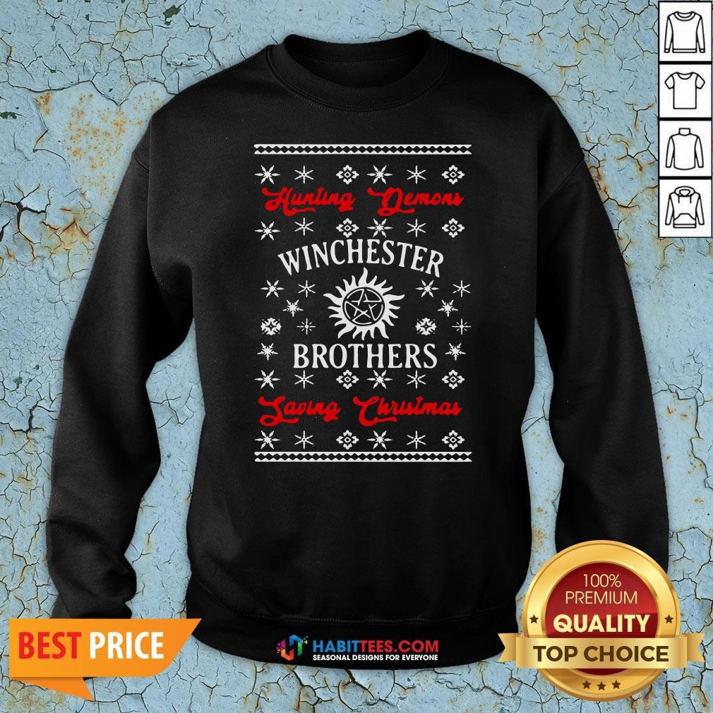 Nice Hunting Demon Winchester Brothers Living Christmas Sweatshirt