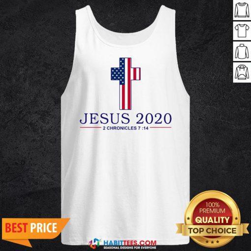Nice Jesus 2020 2 Chronicles 7 14 America Flag Tank Top - Design By Habittees.com