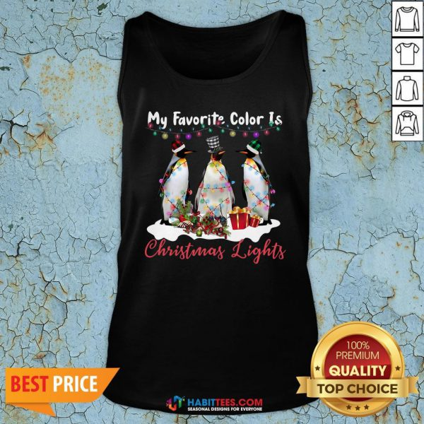 Nice My Favorite Color Is Penguin Christmas Lights Tank Top - Design By Habittees.com
