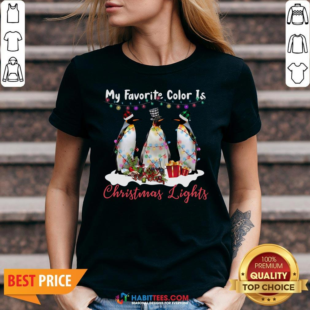 Nice My Favorite Color Is Penguin Christmas Lights V-neck - Design By Habittees.com